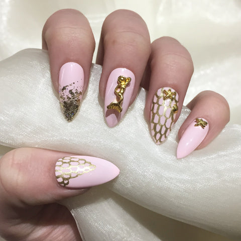Pink and Gold Mermaid Stilettos