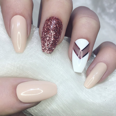 Rose Gold Glitter and Nude Coffins