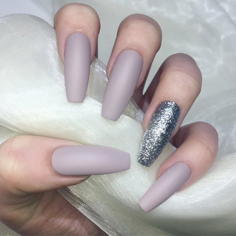 Extra Long Matte Nude and Silver Glitter Coffins