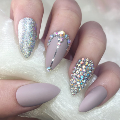 Matte Nude and Silver Holographic Stilettos