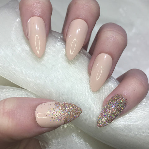 Nude Stilettos with Champagne Holographic Glitter
