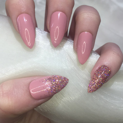 Dusty Pink Stilettos with Pink Holographic Glitter