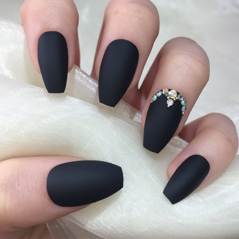 Matte Black Coffins With Gold Bead Design Nails By Georgia
