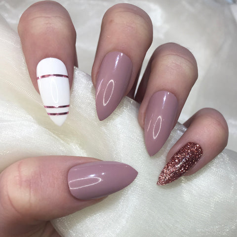 White, Nude and Rose Gold Glitter Stilettos