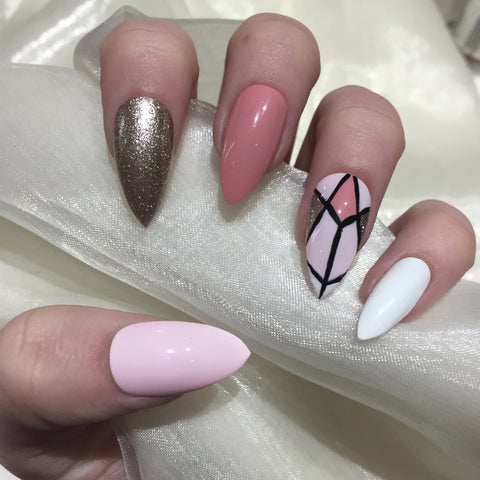 Dusty Pink and Champagne Geometric Stilettos