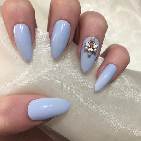 Pastel Blue Stilettos with Vintage Charm