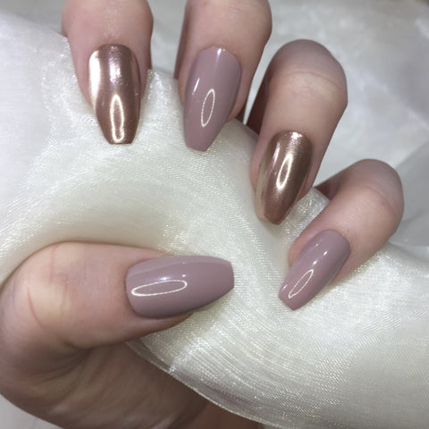Nude and Rose Gold Chrome coffins