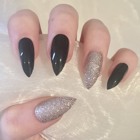 Black and Champagne Glossy Stilettos