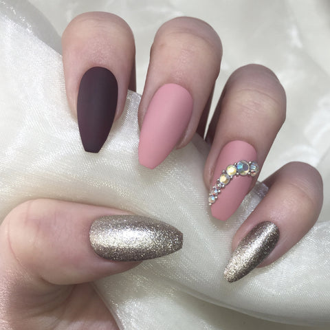 Dusty Pink, Burgundy and Champagne Long Coffins