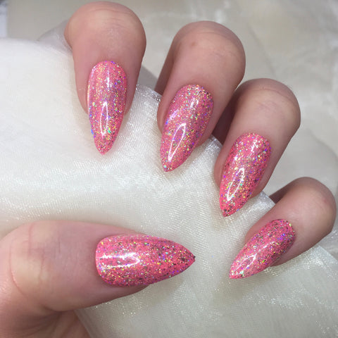Hot Pink Stilettos with Holographic Flakes