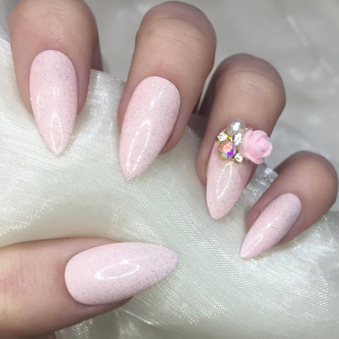 Baby Pink Stilettos with Holographic Glitter and Rose Charm