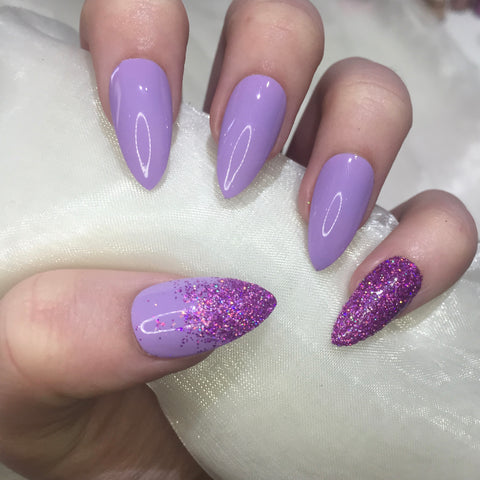 Lilac Stilettos with Purple Holographic Glitter
