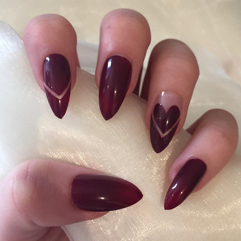Burgundy Heart Stilettos
