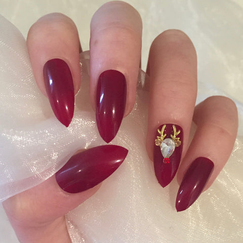 Christmas Glossy Red Reindeer Stilettos