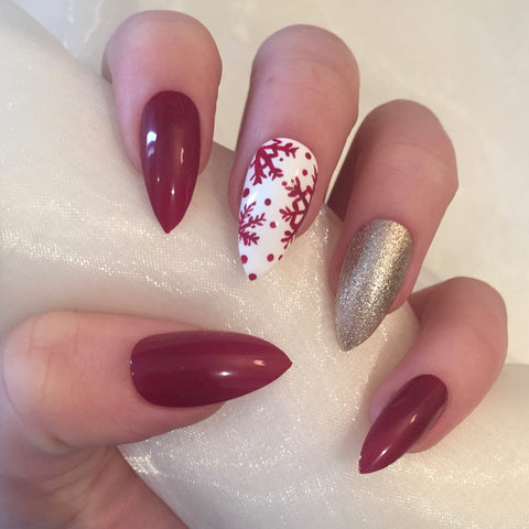 Christmas Red and Champagne Snowflake Stilettos