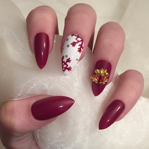 Christmas Bells Stiletto Nails