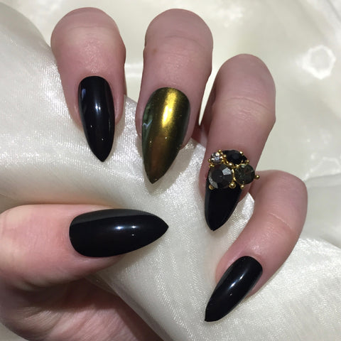 Black and Gold Chrome Charm Stilettos