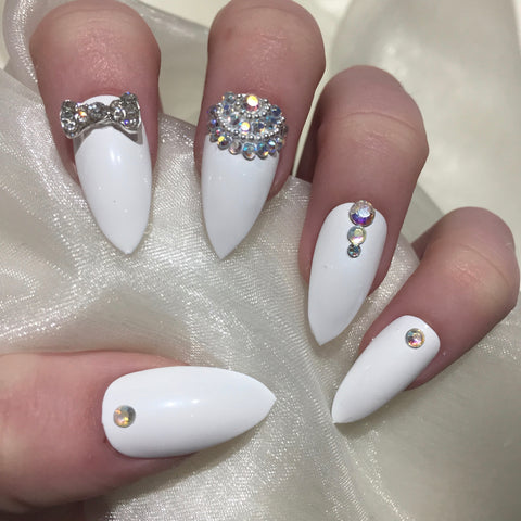 White Glossy Stilettos with Rhinestone and Silver Bead Design