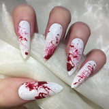 Extra Long White Blood Splatter Halloween Stilettos