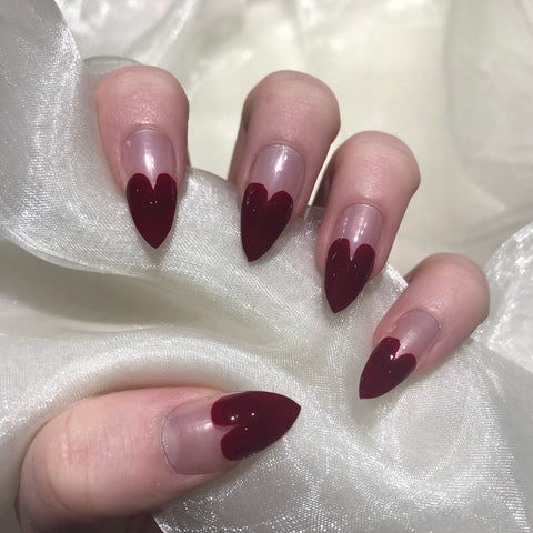 Deep Red Heart Tip Stilettos