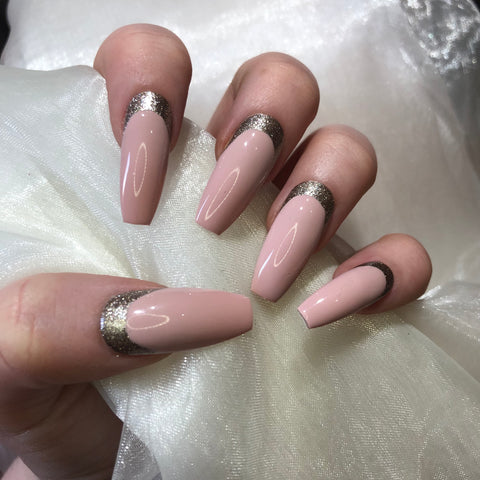 Pink and Champagne Glitter Extra Long Coffins