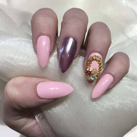 Pink and Chrome Stilettos with Gold Charm