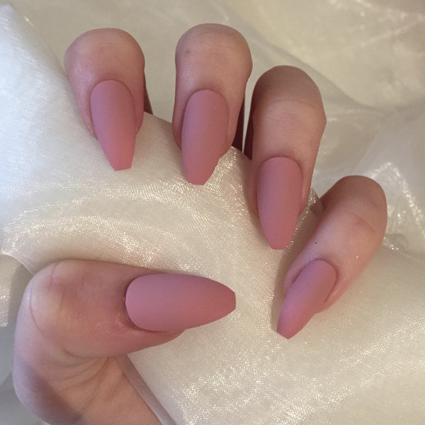 Matte Dusty Pink Long Coffins Nails By Georgia