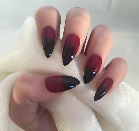 Berry Red To Black Ombre Stilettos Nails By Georgia