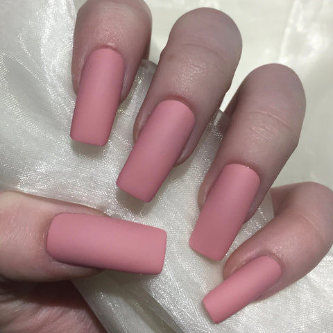 Extra Long Dusty Pink Matte Squares
