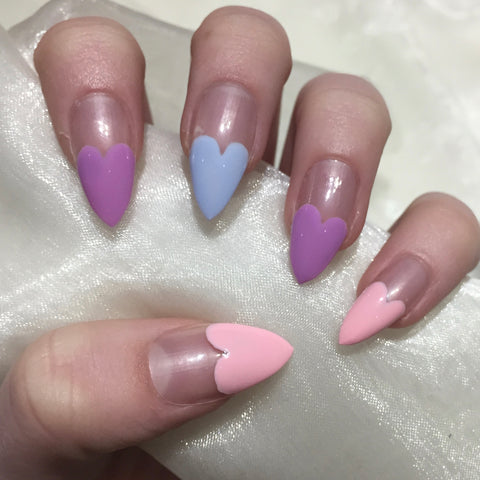 valentines day nails coffin and stiletto nails together
