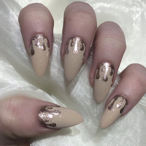 Nude Stiletto with Rose Gold Glitter drip Design