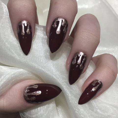Burgundy Gloss Stilettos with Rose Gold Glitter Drip Design