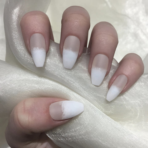 Matte Sheer Nude to White Coffins