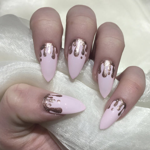 Pink Stilettos With Rose Gold Glitter Drip Design Nails By Georgia