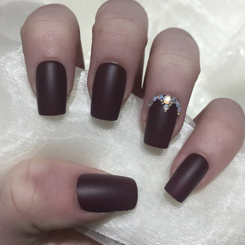 Matte Burgundy Squares with Gold Bead and Rhinestones
