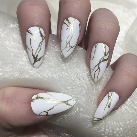 White And Gold Stiletto Nails Designs