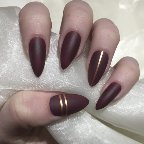 Matte Burgundy Stilettos with Rose Gold Tape