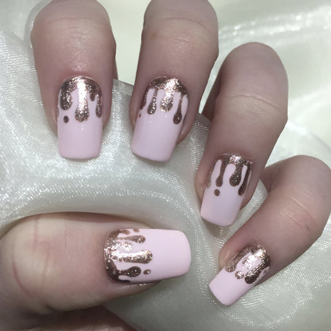 Pink Squares With Rose Gold Glitter Drip Design Nails By Georgia