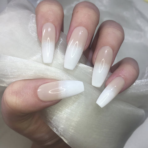 Extra Long Sheer Nude to White Ombre Coffins
