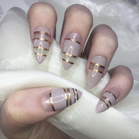 Nude and Copper Negative space Stilettos