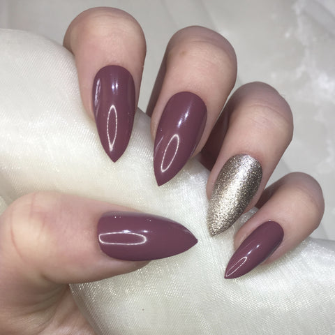 Deep Mauve and Champagne Stilettos