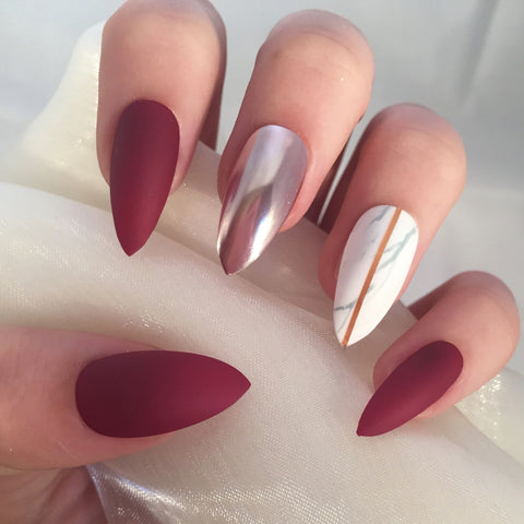 Matte Berry Red, Chrome and Marble Stilettos