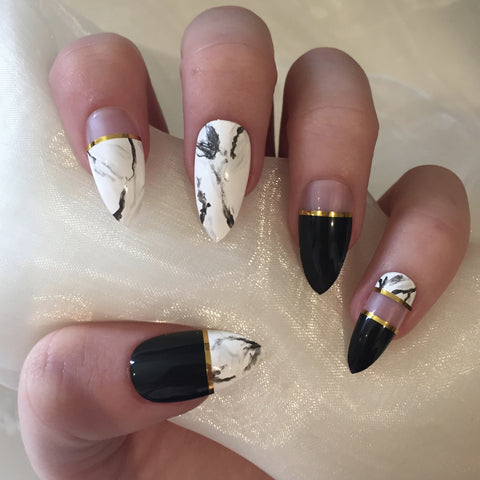 Black, White and Gold Marble Stilettos