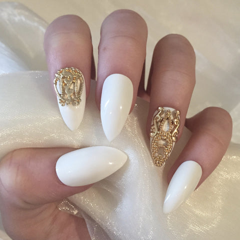 White Stilettos with 3D Gold Charms