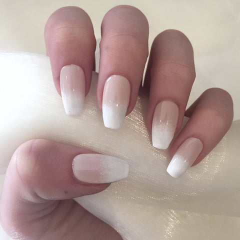 Sheer Nude to White Ombre Coffins