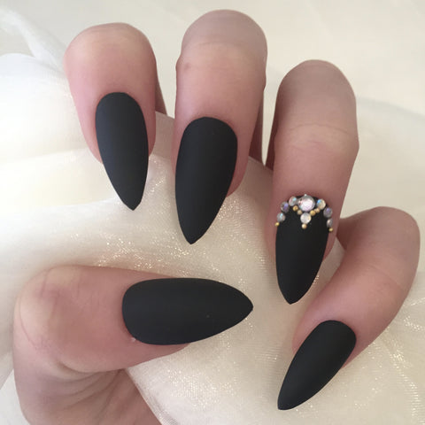 Matte Black Stilettos with Gold Bead and Rhinestones