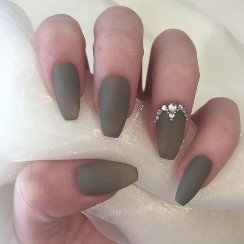 Matte Khaki Coffins with Gold Beads and Rhinestones