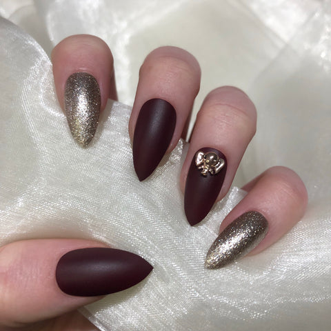 Save the Elephants Maroon Stiletto Nails