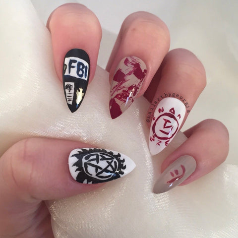 Supernatural themed stiletto nails