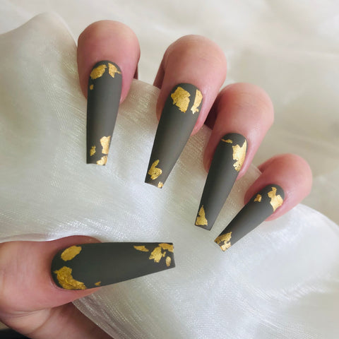 Extra Long Khaki and Gold Flake Matte Ballerina Nails